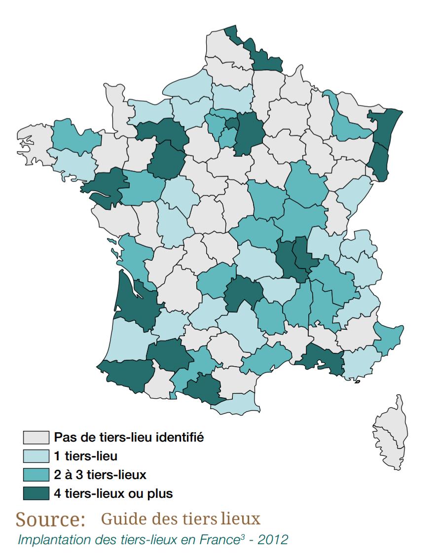 Répartition des tiers-lieux en France